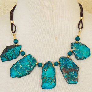 Teal Blue Jasper & Leather Bib Statement Necklace